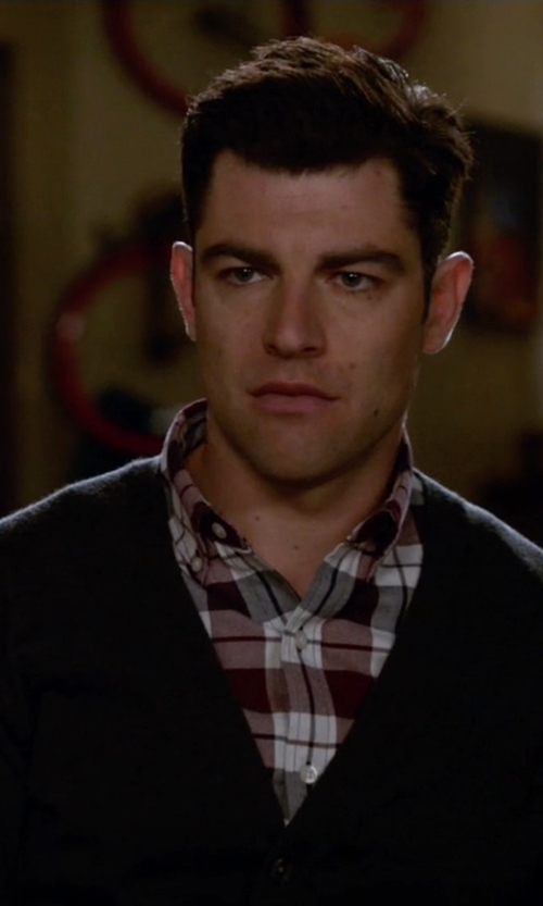 Max Greenfield with Star USA By John Varvatos Button Front Yarn Detailing Cardigan in New Girl