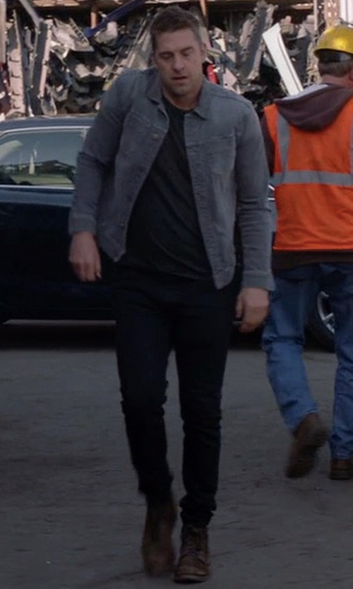 Scott Speedman with AG Jeans The Stockton Mid-Rise Slim-Fit Jeans in Animal Kingdom