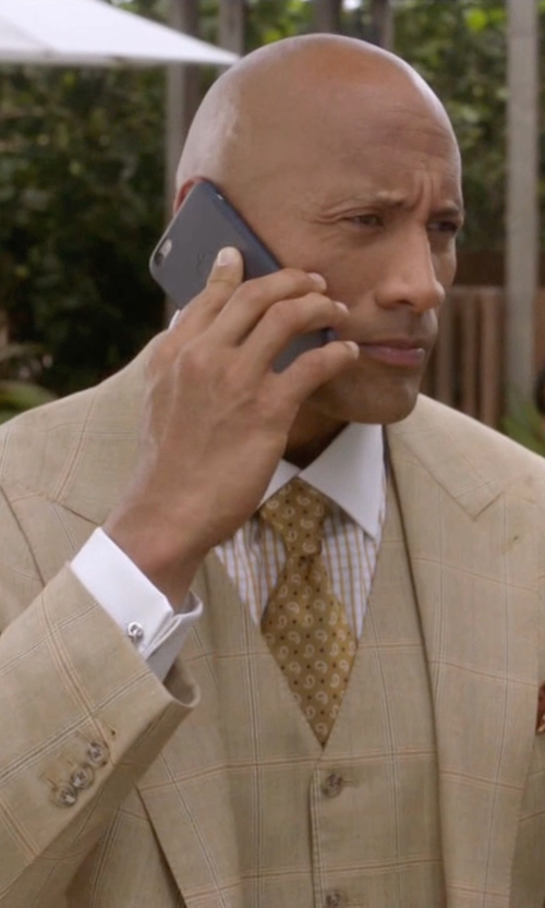 "Dwayne Johnson with Steven Land ""Walter"" Windowpane Men's Modern Fashion Suit in Ballers"