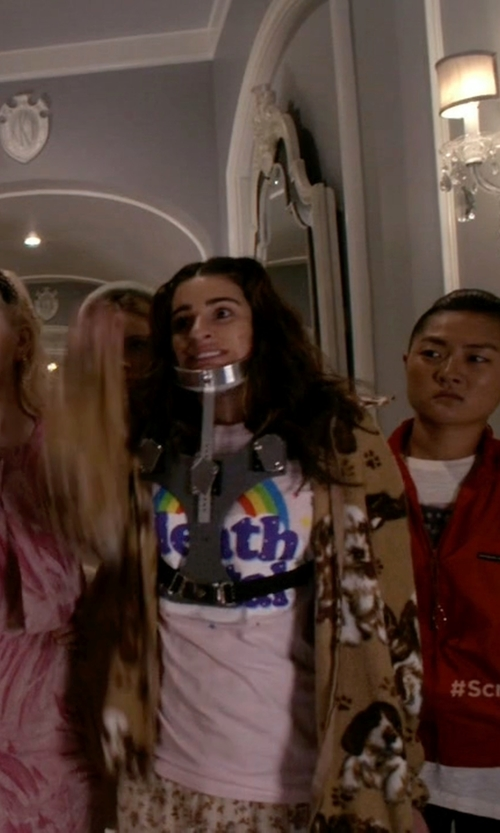 Lea Michele with Hot Topic Death Metal Rainbow T-Shirt in Scream Queens