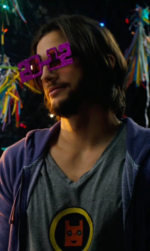 Ashton Kutcher with Tristan's Entertainment Services New Years Eve Party Glasses 2014 in New Year's Eve