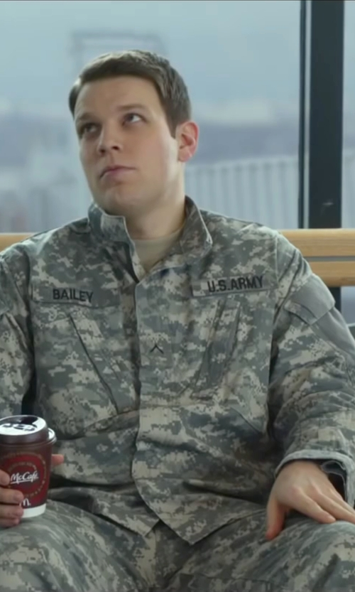 Jake Lacy with Tru-Spec Digital Camo Army Combat Uniform Pants in Love the Coopers