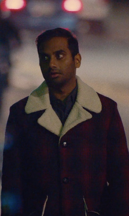 Aziz Ansari with Saint Laurent Shearling Plaid Wool Jacket in Master of None