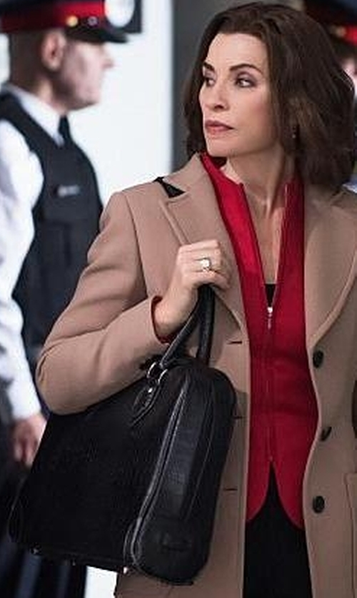 Julianna Margulies with DKNY Croc-Embossed Large Satchel Bag in The Good Wife