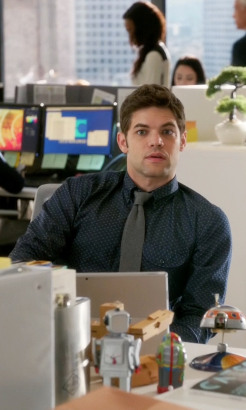Jeremy Jordan with Peter Werth Polka Dot Cotton Shirt in Supergirl