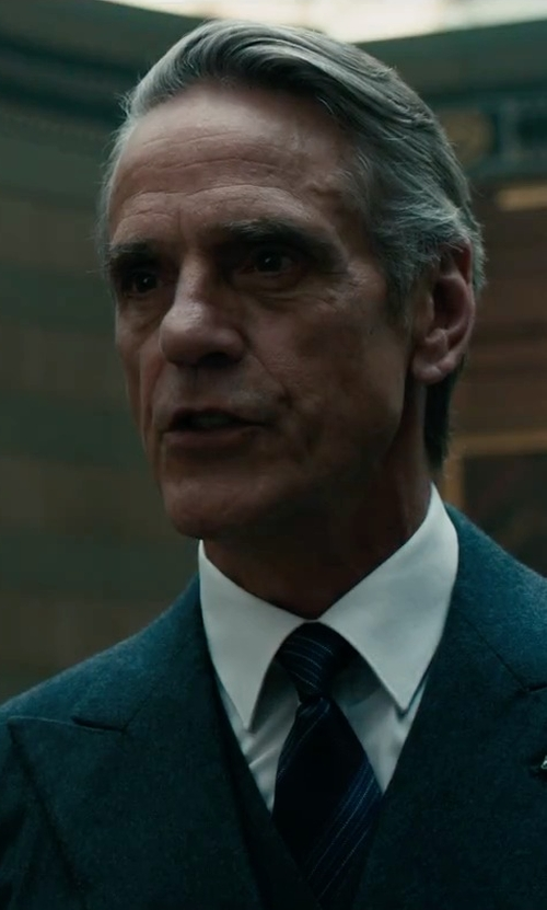 Jeremy Irons with Boss Hugo Boss Huge Genius Slim Birdseye Three-Piece Suit in Assassin's Creed