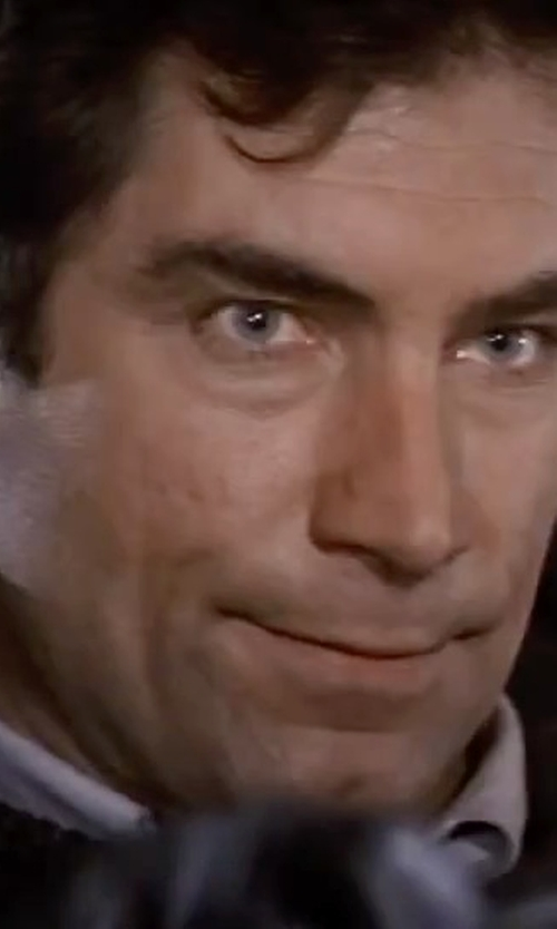 Timothy Dalton with Roberto Collina Ribbed Knit Sweater in The Living Daylights