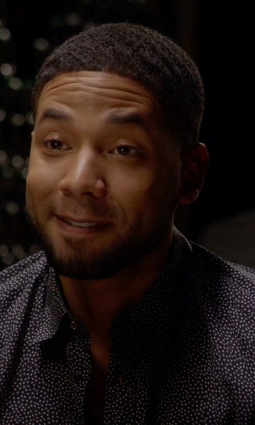 Jussie Smollett with Polo Ralph Lauren Polka Dot Button Down Shirt in Empire