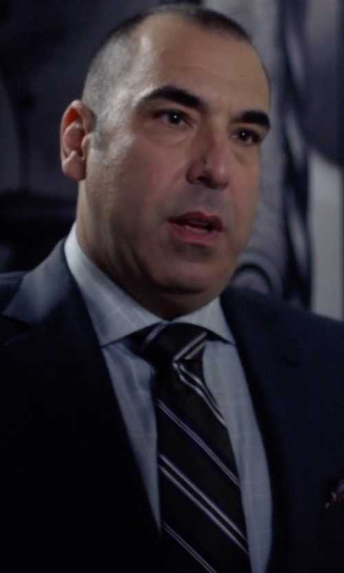 Rick Hoffman with Polo Ralph Lauren Striped Silk Repp Narrow Tie in Suits