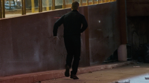Matt Damon with Paige Federal Slim Straight Leg Jeans in Jason Bourne