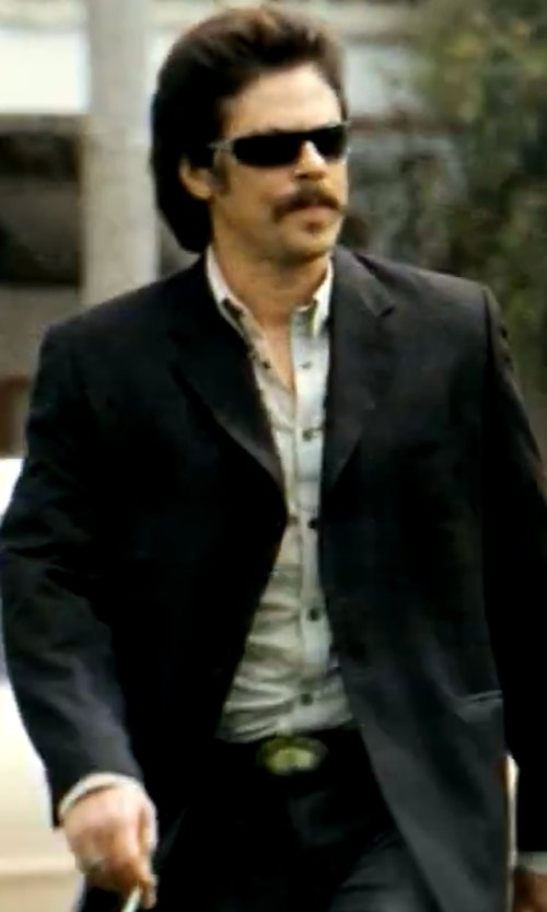 Benicio Del Toro with Salvatore Ferragamo Double Gancini Leather Belt in Savages