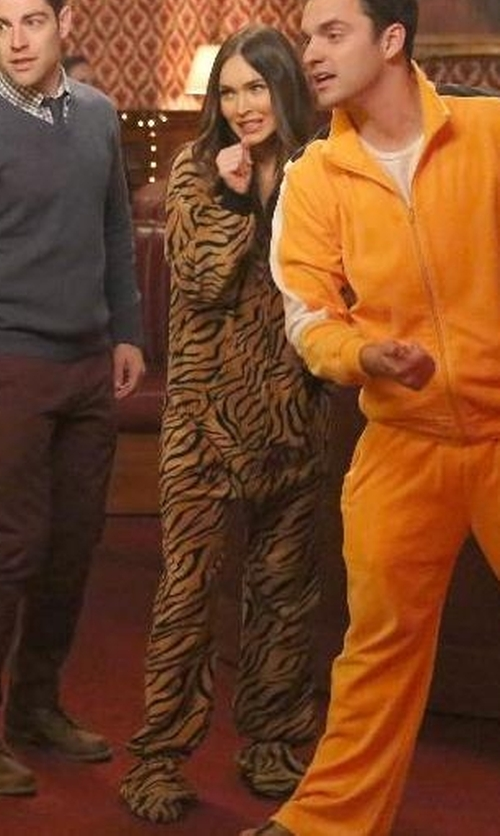 Megan Fox with Footed Pajamas Tiger Stripes Adult Hoodie Fleece Pajamas in New Girl