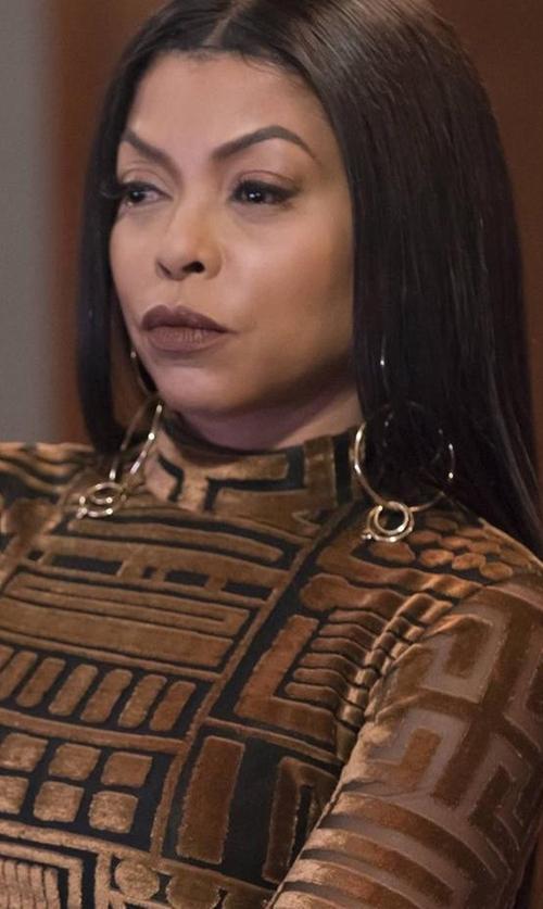 Taraji P. Henson with Jennifer Fisher XL Multi Hoop Earrings in Empire