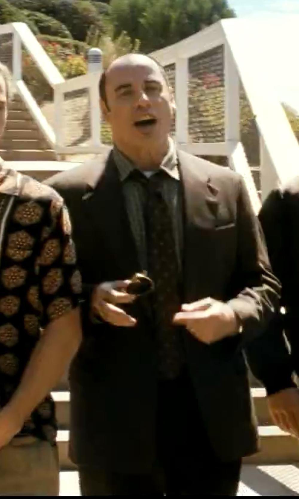 John Travolta with Lauren by Ralph Lauren Black Solid Flat-Front Dress Pants in Savages