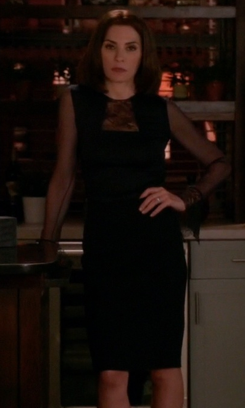 Julianna Margulies with David Meister Long-Sleeve Embroidered Jersey Dress in The Good Wife
