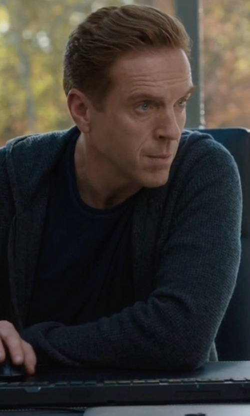 Damian Lewis with Vince Cashmere Zip-Up Hoodie in Billions