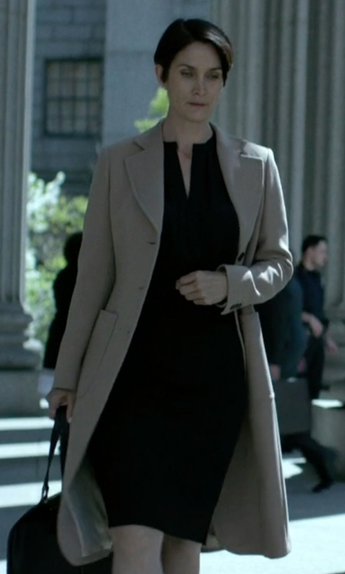 Carrie-Anne Moss with Derek Lam Long Patch Pocket Coat in Jessica Jones