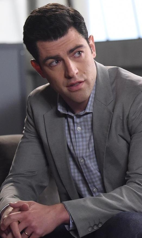 Max Greenfield with Grayers Grange Shadow Gingham Shirt in New Girl