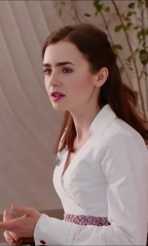 Lily Collins with Natori Long-Sleeve Wrap Blouse in Love, Rosie