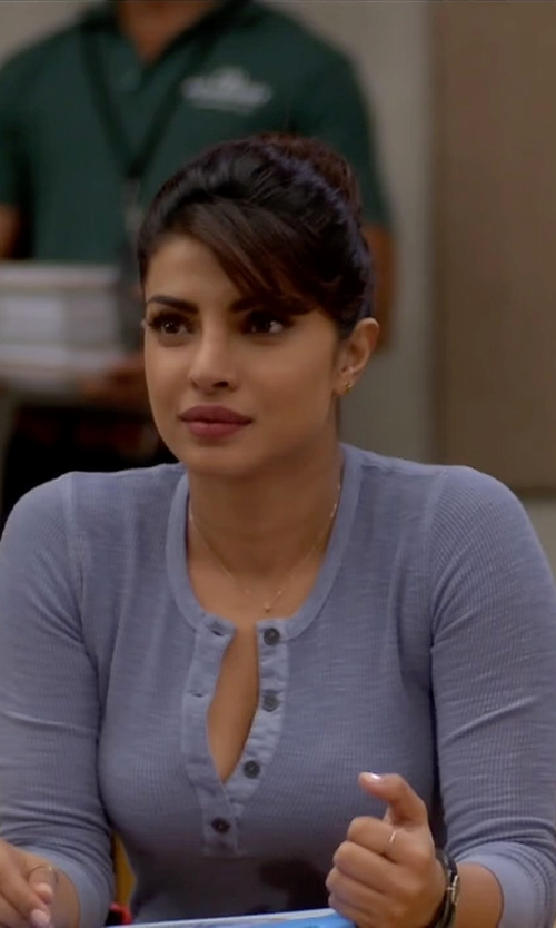 Priyanka Chopra with Karen Scott Henley Top in Quantico