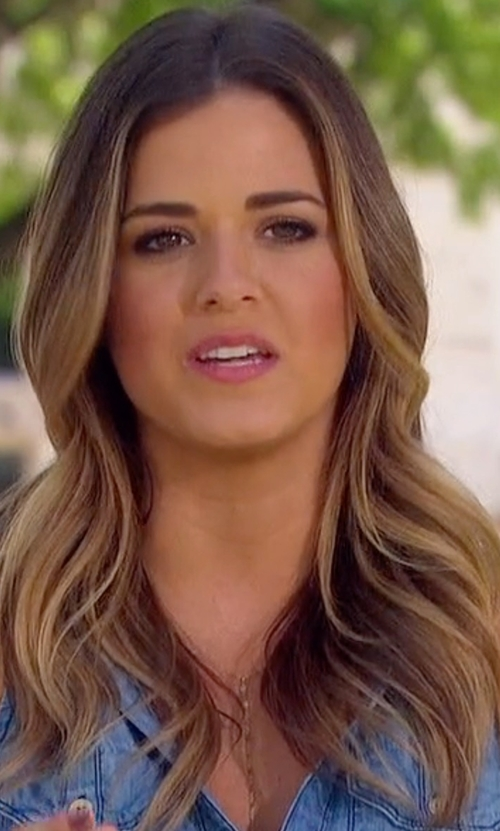 JoJo Fletcher with Jules Vance Jewelry Sparkle Lariat Necklace in The Bachelorette