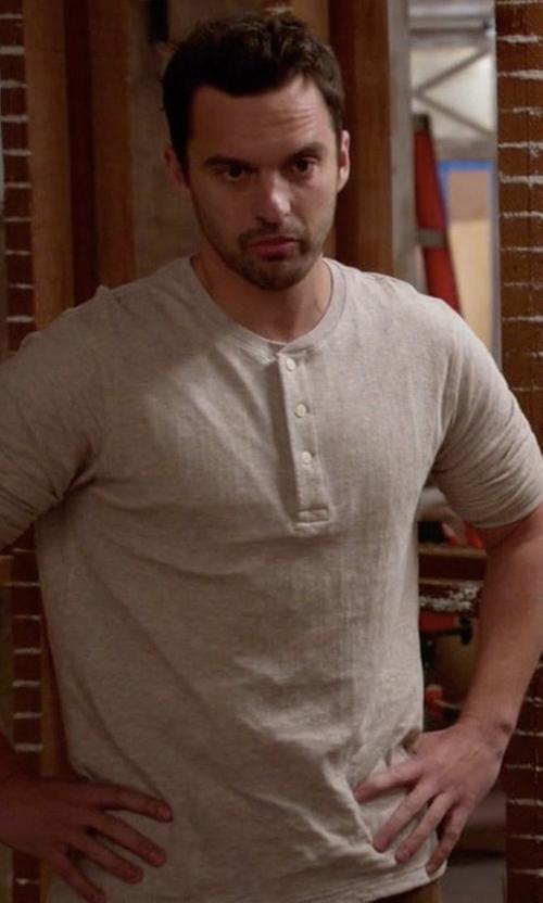 Jake Johnson with Rag & Bone Standard Issue Basic Henley Shirt in New Girl