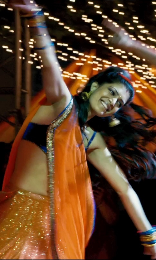 Tena Desae with Freida Rothman Tuxedo Stripe Hinged Bangle in The Second Best Exotic Marigold Hotel