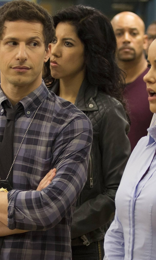 Stephanie Beatriz with All Saints Cargo Leather Biker Jacket in Brooklyn Nine-Nine