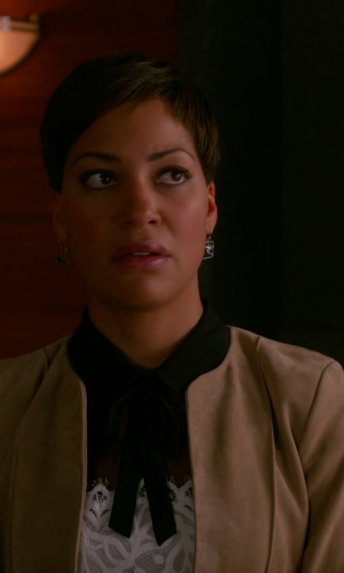 Cush Jumbo with Michael Kors Collection Melton Open-Front Shell Jacket in The Good Wife
