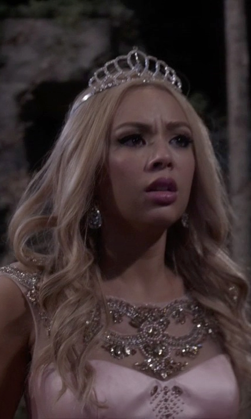 Janel Parrish with Nadri Crystal & Cubic Zirconia Drop Earrings in Pretty Little Liars