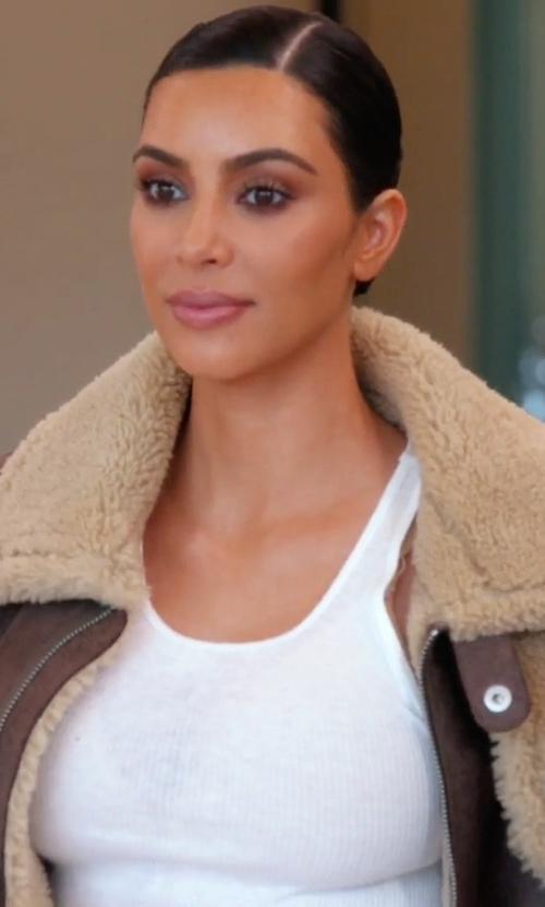 Kim Kardashian West with Yeezy Season 3  2 Tone Lamb Shearling Coat in Keeping Up With The Kardashians