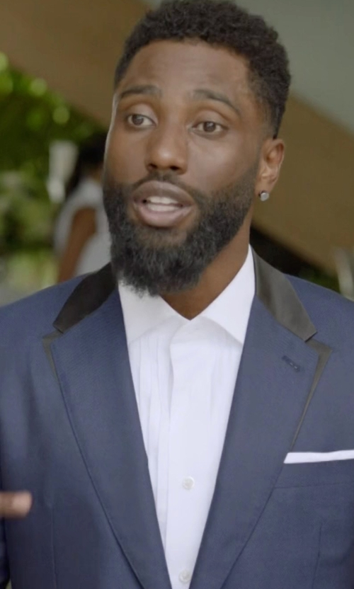 John David Washington with Boss Hugo Boss Huge Genius Slim-Fit Basic Suit in Ballers