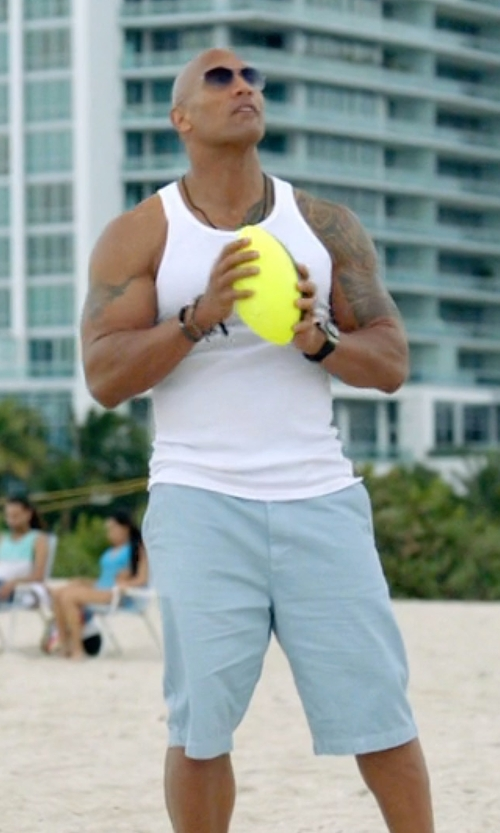 Dwayne Johnson with American Eagle Outfitters Longboard Shorts in Ballers