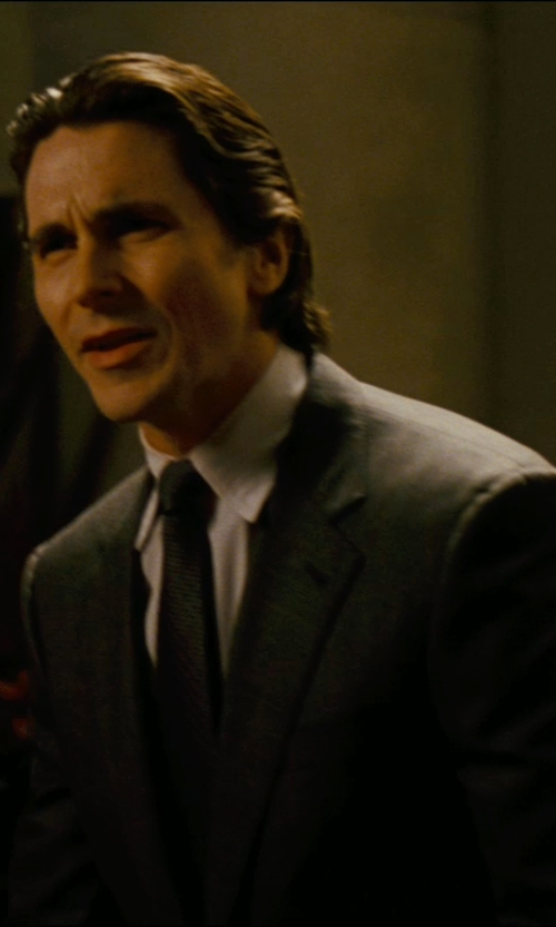Christian Bale with Giorgio Armani Custom Made Tonal Stripe Tie (Bruce Wayne) in The Dark Knight Rises