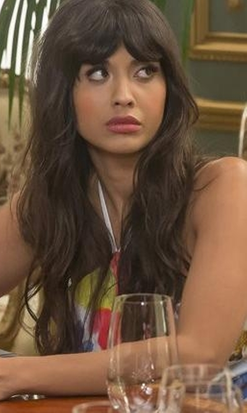 Jameela Jamil with MinkPink What A Galah Dress in The Good Place