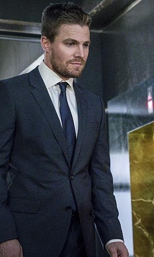 Stephen Amell with Versace Collection Solid Wool & Cashmere Suit in Arrow