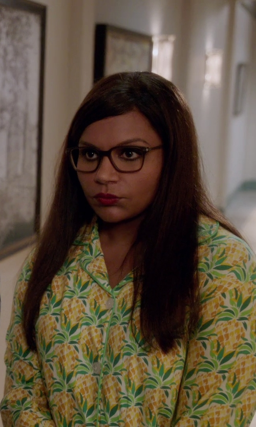 Mindy Kaling with Bedhead Classic Pajama Set in The Mindy Project