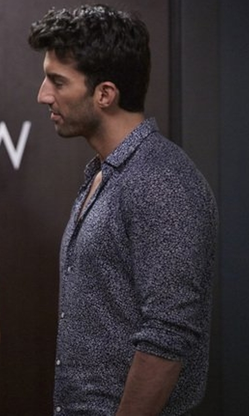 Justin Baldoni with Farah Patterned Button Down Shirt in Jane the Virgin