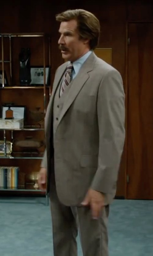Will Ferrell with Jones New York Taupe Plaid Vested Modern Fit Suit in Anchorman 2: The Legend Continues