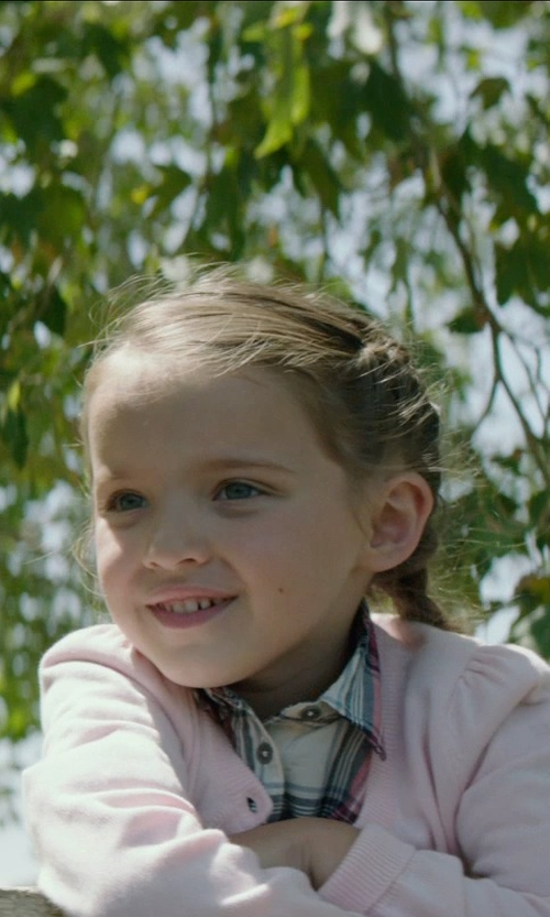 Madeleine McGraw with Take Out Little Girls' Everyday Cardigan Sweater in American Sniper