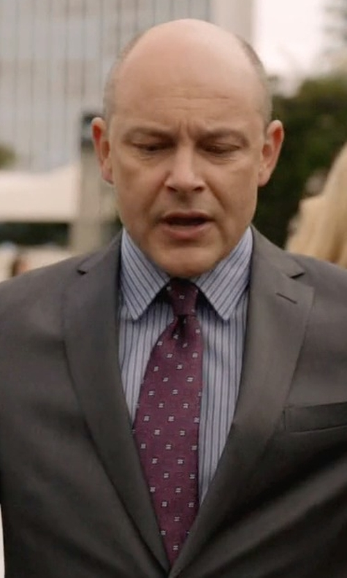 Rob Corddry with Lands' End Regular Fit Stripe Dress Shirt in Ballers