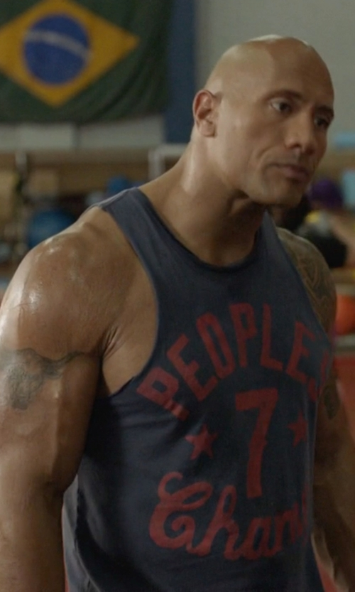 Dwayne Johnson with Roots of Fight People's Champ 7 Tank Top in Ballers