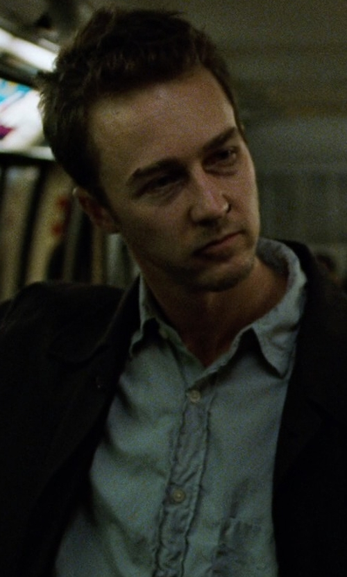 Edward Norton with Piattelli End-On-End Dress Shirt in Fight Club