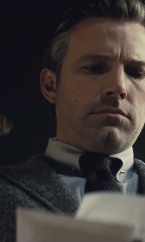 Ben Affleck with Gucci Custom Made Gray Peak Lapel Suit in Batman v Superman: Dawn of Justice