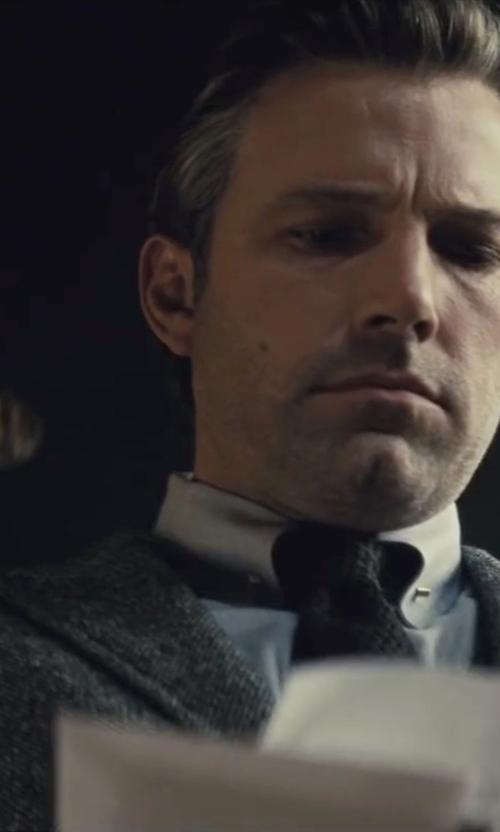 Ben Affleck with Gucci Custom Made Gray Peak Lapel Suit in Batman v Superman: Dawn of Justice