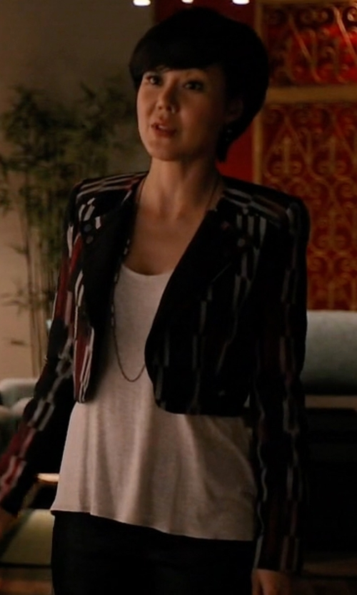 Yunjin Kim with BCBGMAXAZRIA Nathan Double Lapel Jacket in Mistresses