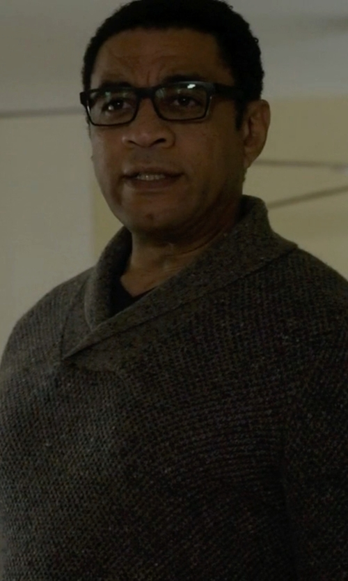 Harry Lennix with Perry Ellis Shawl Collar Sweater in The Blacklist