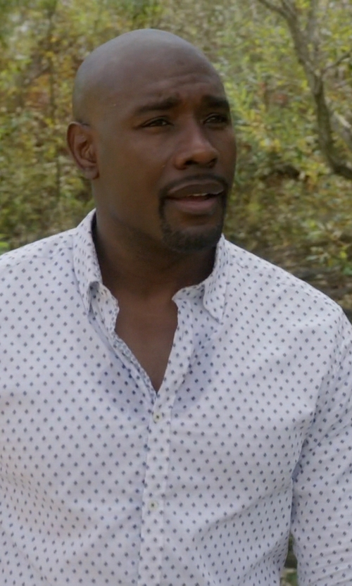 Morris Chestnut with Saks Fifth Avenue Collection Modern-Fit Dot Dress Shirt in Rosewood