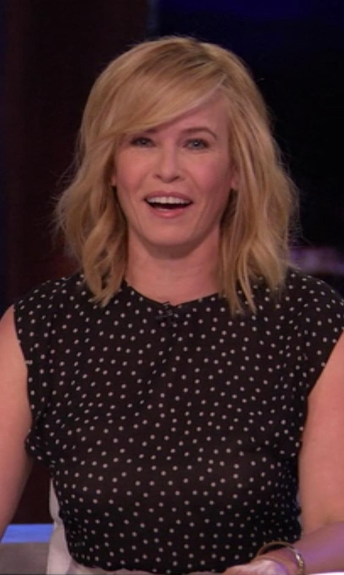Chelsea Handler with Department 5 Polka Dot Blouse in Chelsea
