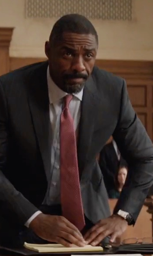 Idris Elba with Saint Laurent Mini-Check Silk Tie in Molly's Game